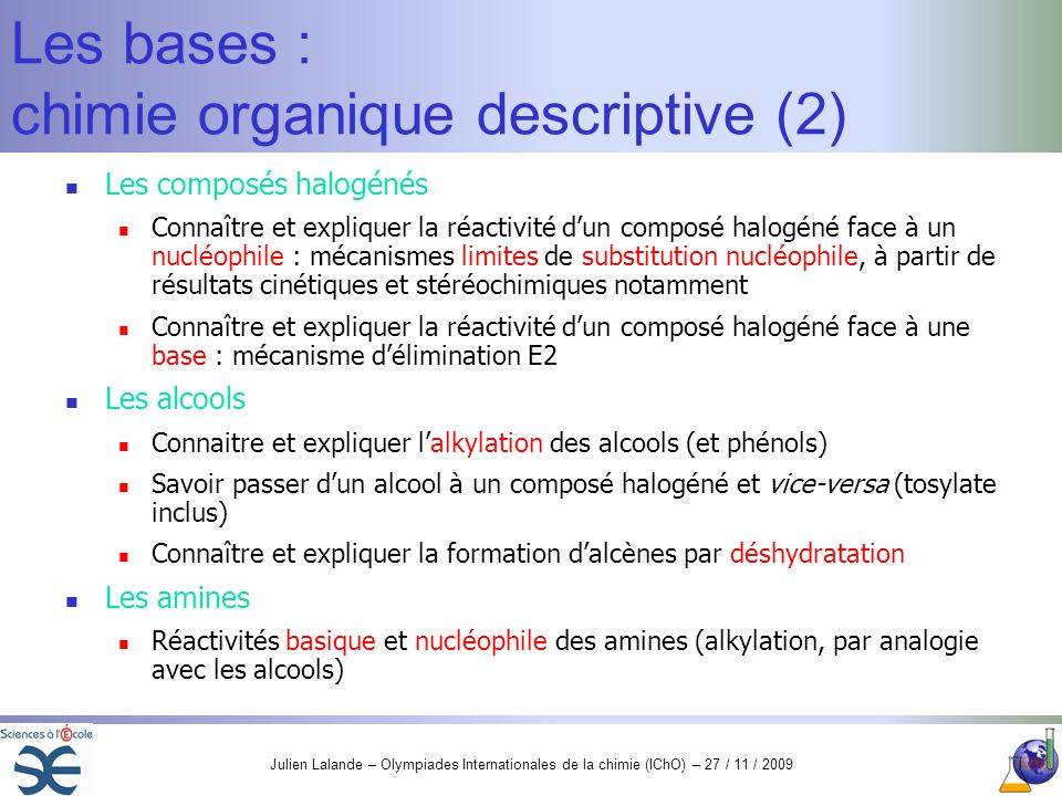 Les bases : chimie organique descriptive (2)
