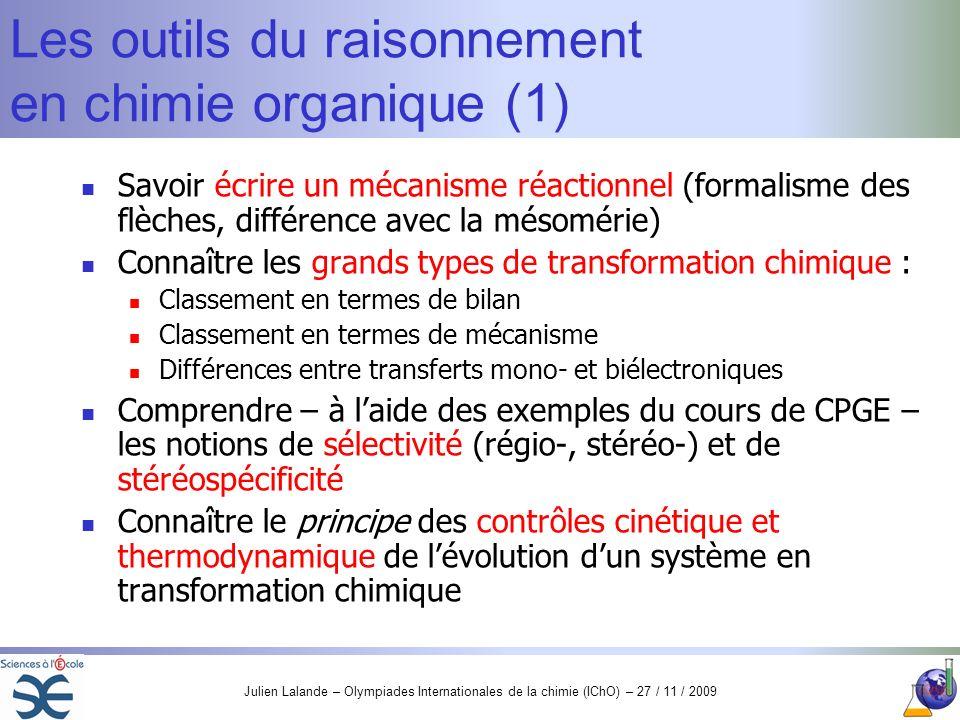 Les outils du raisonnement en chimie organique (1)