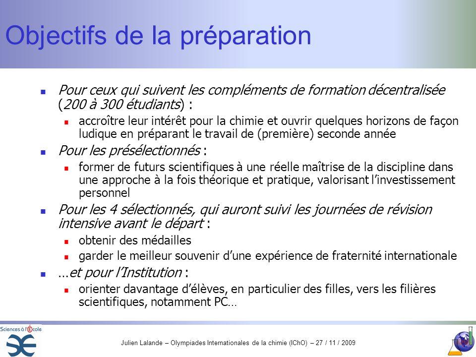 Objectifs de la préparation