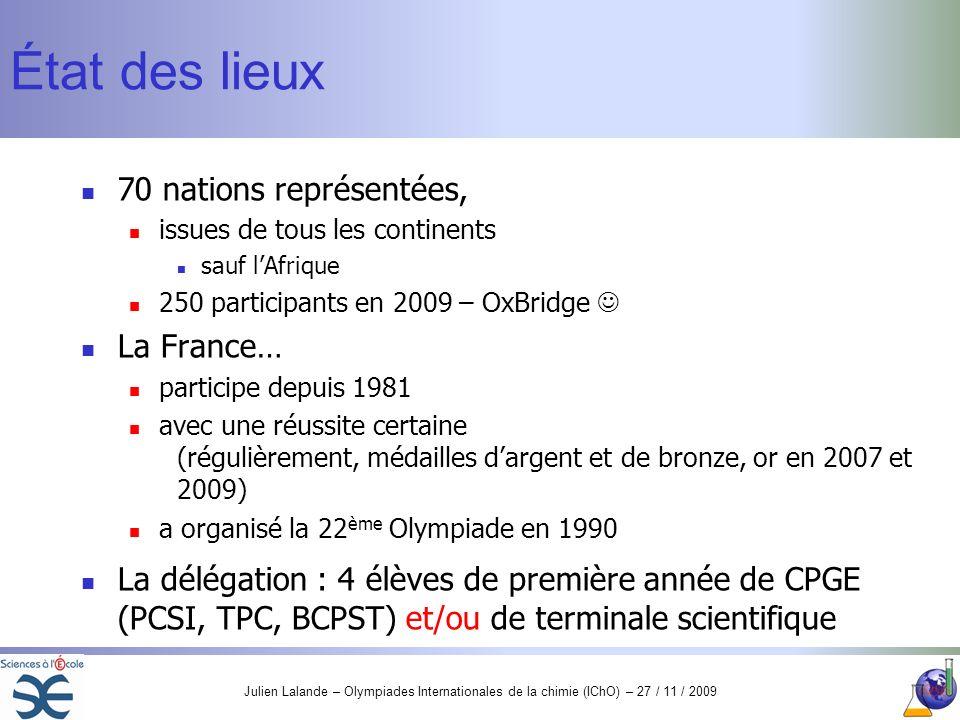 État des lieux 70 nations représentées, La France…