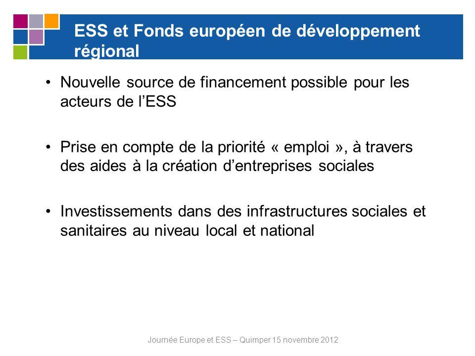 ESS et Fonds européen de développement régional