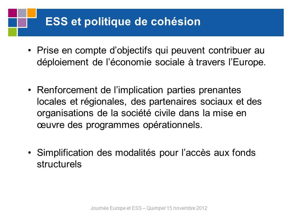 ESS et politique de cohésion