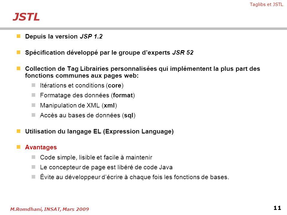 JSTL Depuis la version JSP 1.2