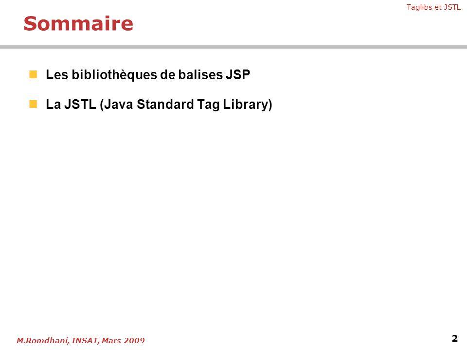 Chapitre 3 - Bibliothèques de balises et JSTL