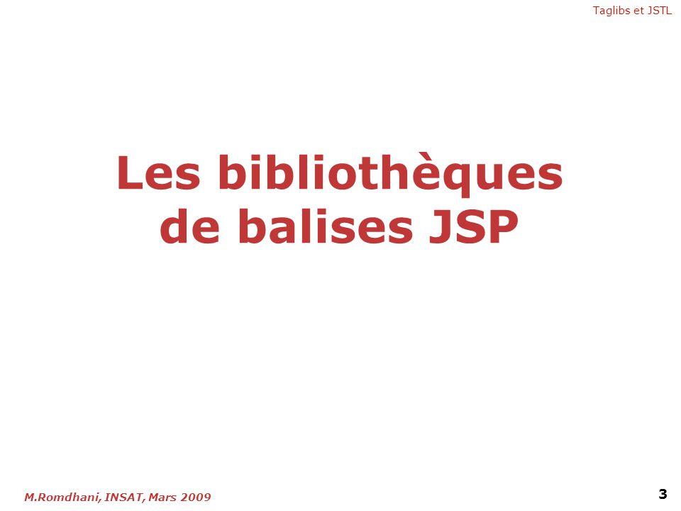 Les bibliothèques de balises JSP