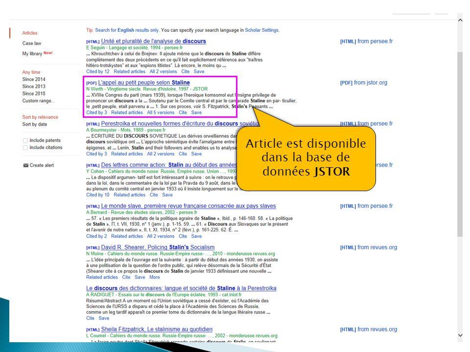 Article est disponible dans la base de données JSTOR