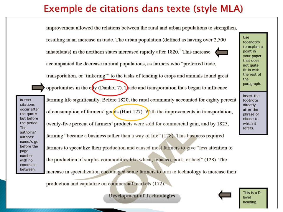 Exemple de citations dans texte (style MLA)
