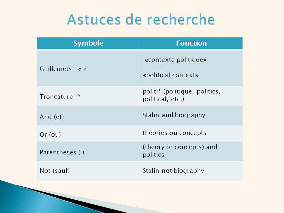 Astuces de recherche Symbole Fonction Guillemets « »