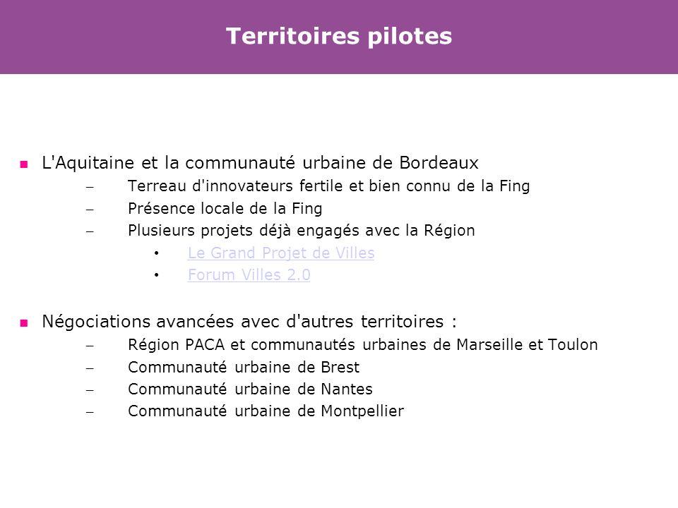 Territoires pilotes L Aquitaine et la communauté urbaine de Bordeaux