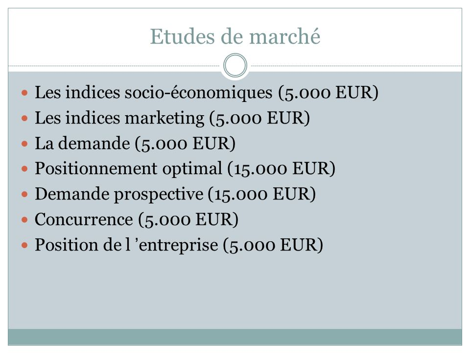 Etudes de marché Les indices socio-économiques (5.000 EUR)