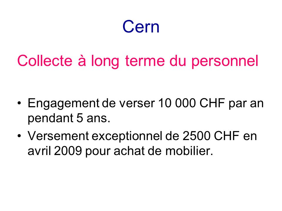 Cern Collecte à long terme du personnel