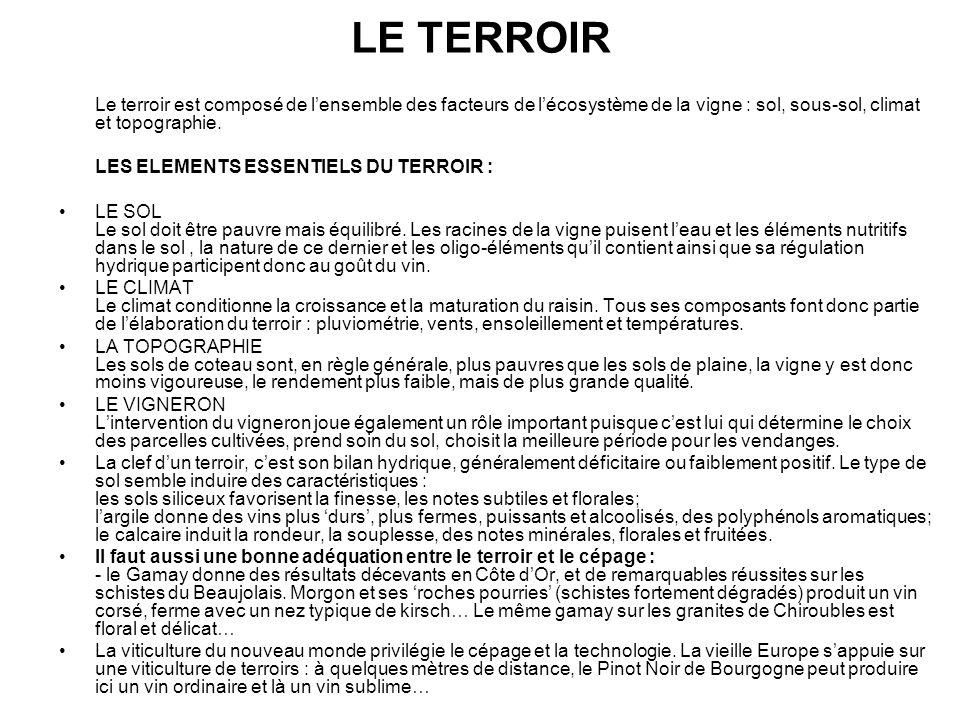 LE TERROIR Le terroir est composé de l'ensemble des facteurs de l'écosystème de la vigne : sol, sous-sol, climat et topographie.