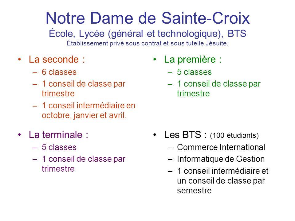 Notre Dame de Sainte-Croix École, Lycée (général et technologique), BTS Établissement privé sous contrat et sous tutelle Jésuite.