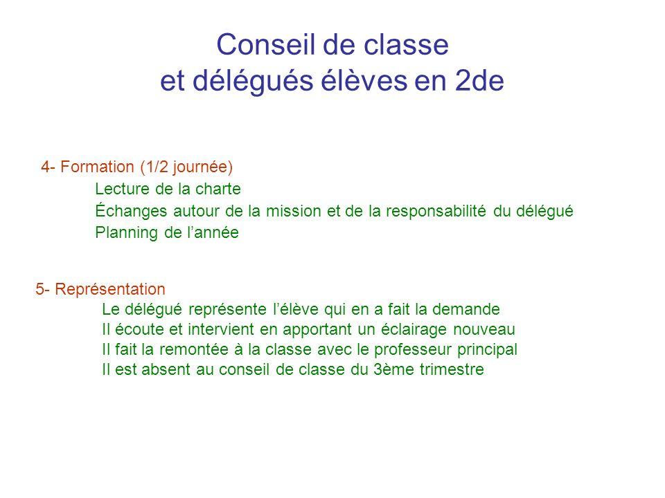 Conseil de classe et délégués élèves en 2de