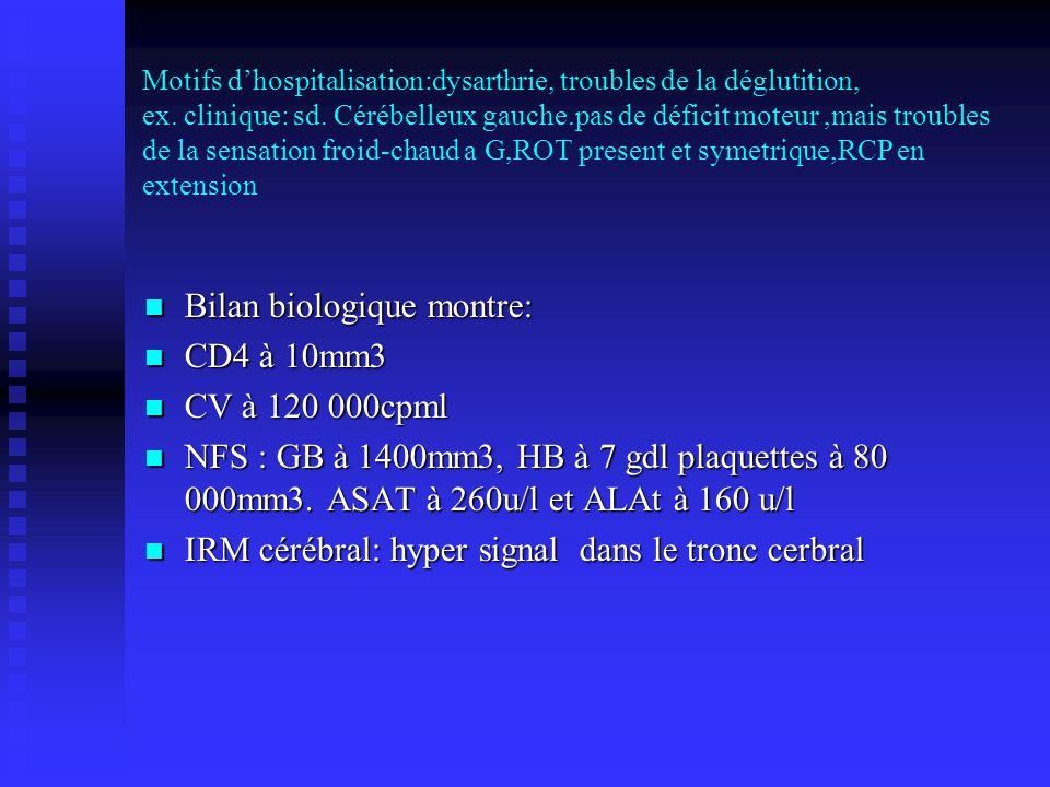 Bilan biologique montre: CD4 à 10mm3 CV à 120 000cpml