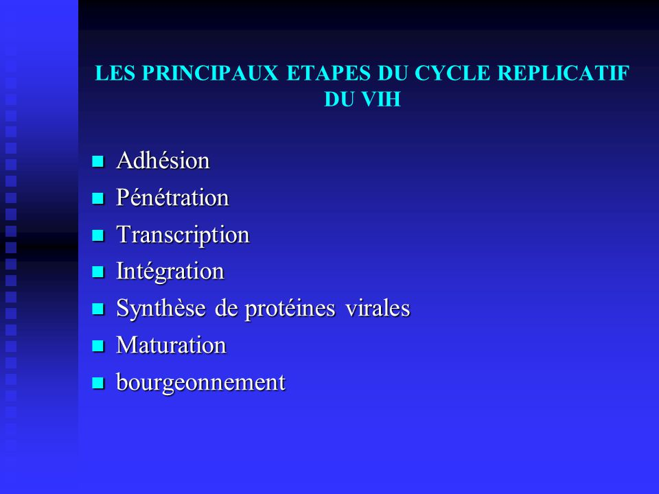 LES PRINCIPAUX ETAPES DU CYCLE REPLICATIF DU VIH