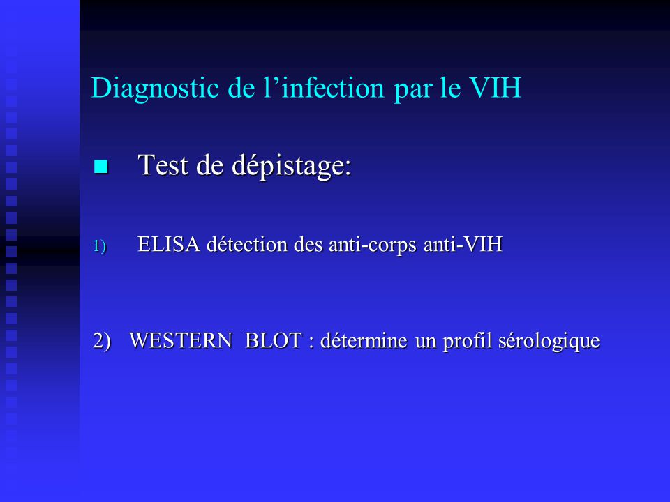 Diagnostic de l'infection par le VIH