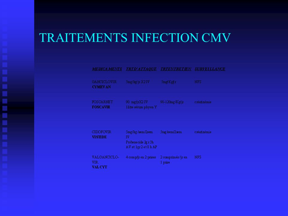 TRAITEMENTS INFECTION CMV