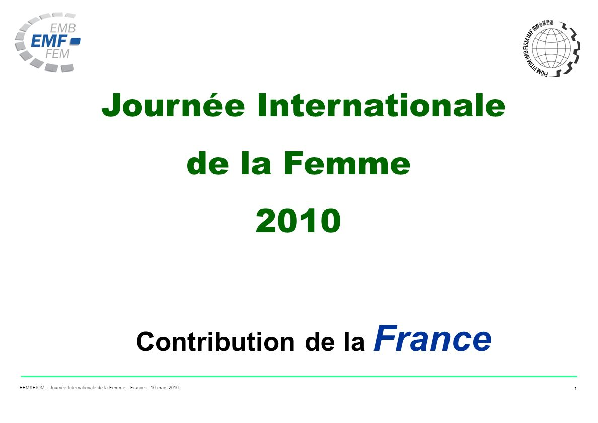Journée Internationale Contribution de la France