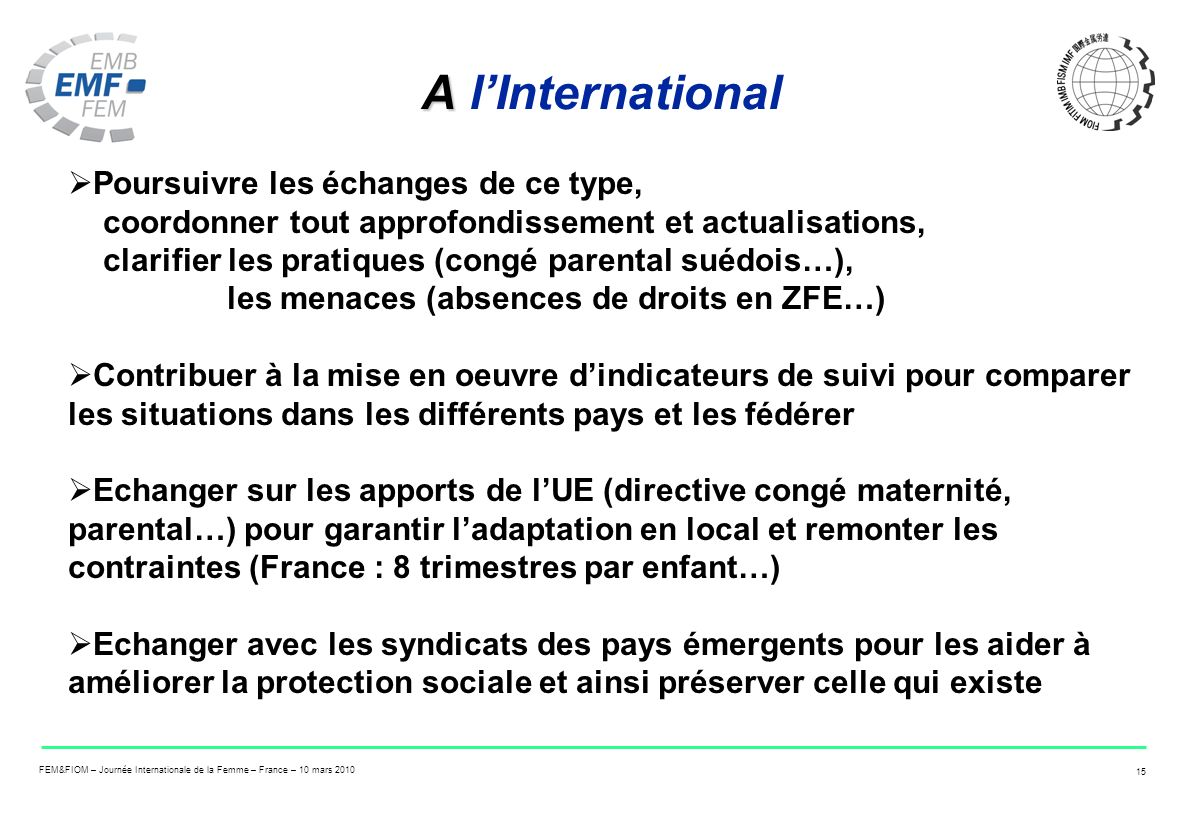 A l'International
