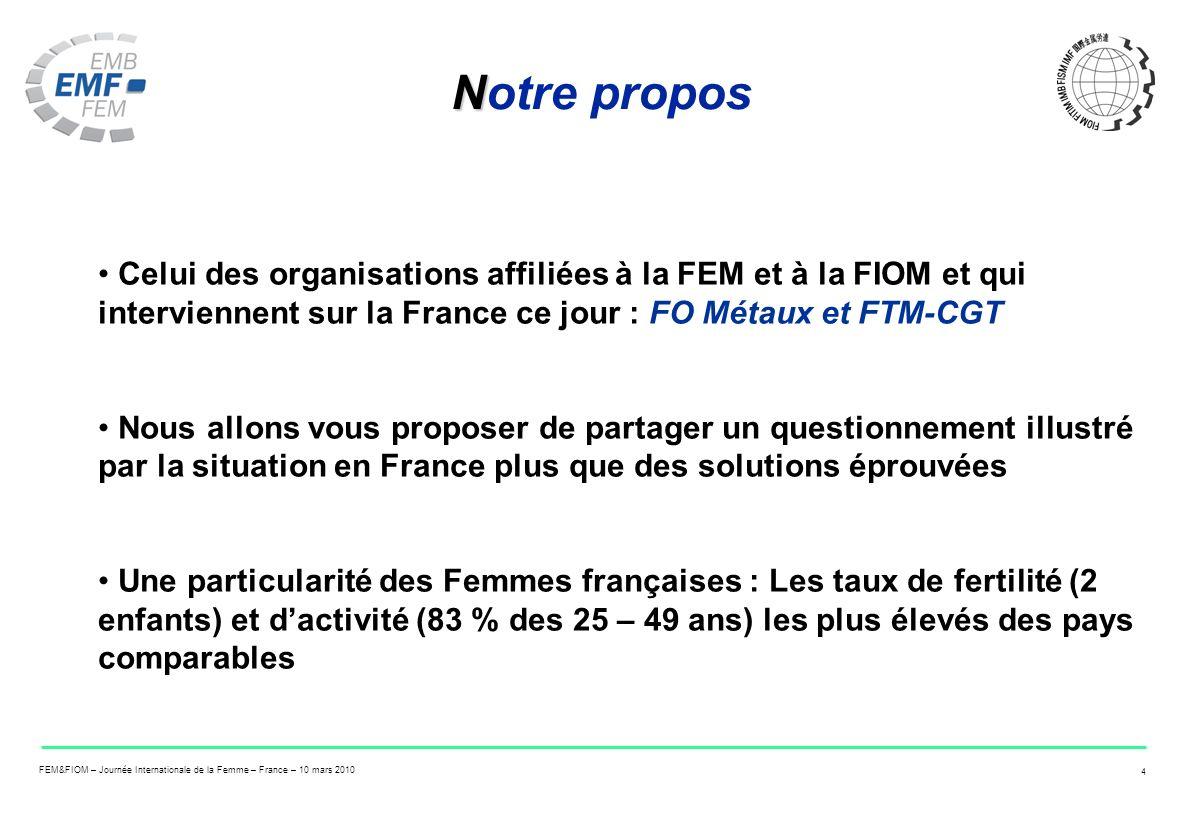 Notre propos Celui des organisations affiliées à la FEM et à la FIOM et qui interviennent sur la France ce jour : FO Métaux et FTM-CGT.