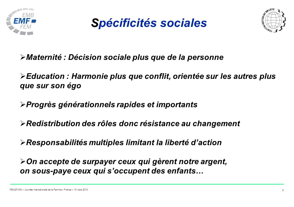 Spécificités sociales