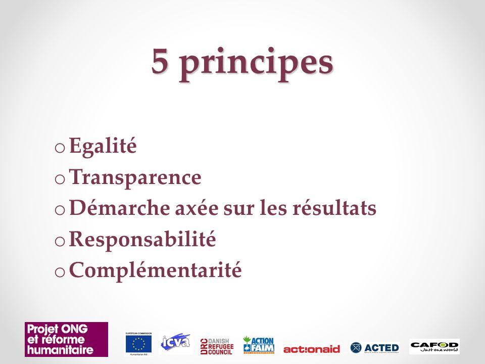 5 principes Egalité Transparence Démarche axée sur les résultats