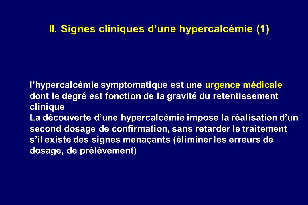 II. Signes cliniques d'une hypercalcémie (1)