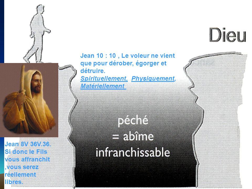 Jean 10 : 10 , Le voleur ne vient que pour dérober, égorger et détruire. Spirituellement, Physiquement, Matériellement