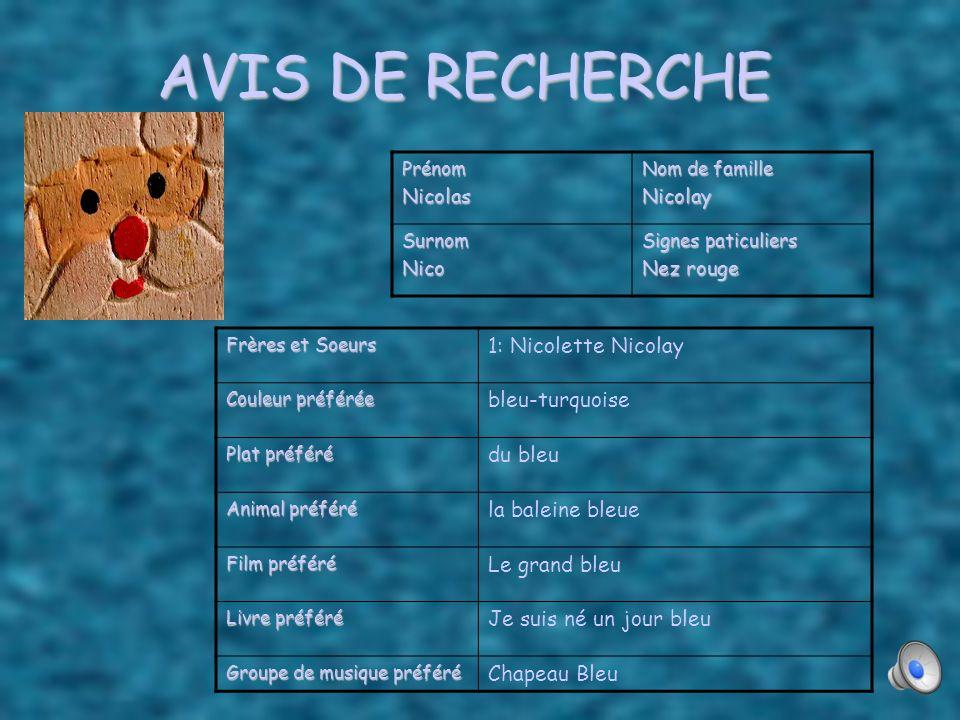 AVIS DE RECHERCHE 1: Nicolette Nicolay bleu-turquoise du bleu