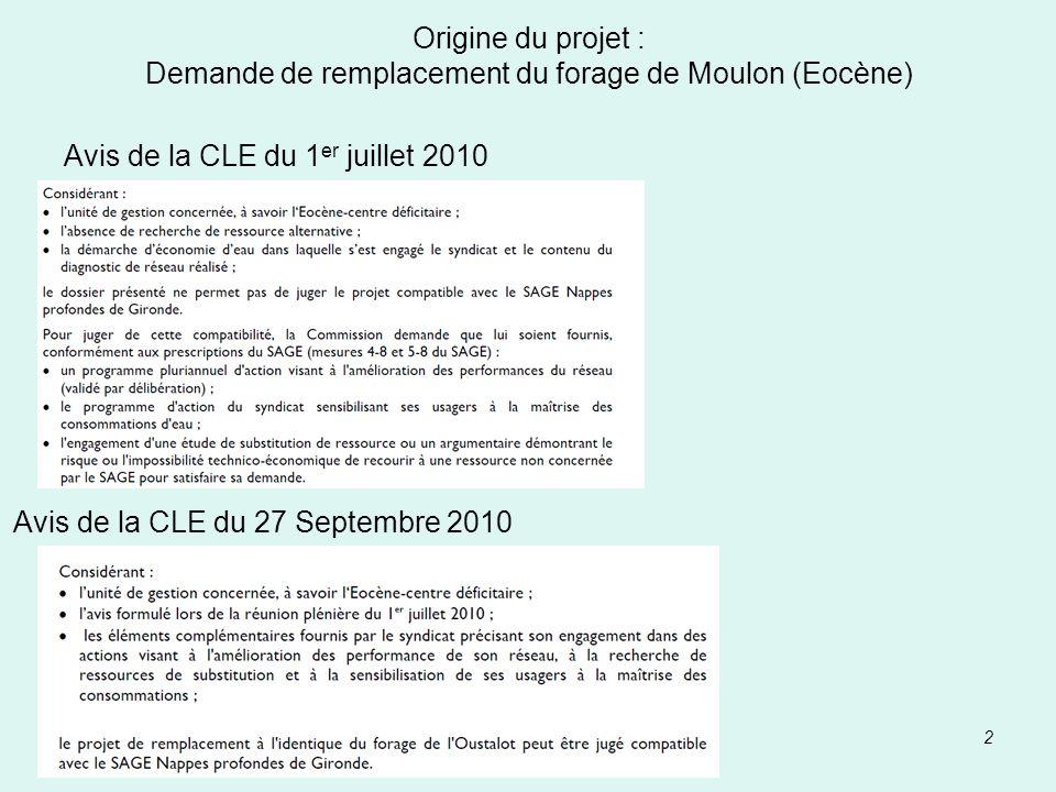 Avis de la CLE du 1er juillet 2010