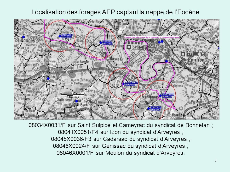 Localisation des forages AEP captant la nappe de l'Eocène