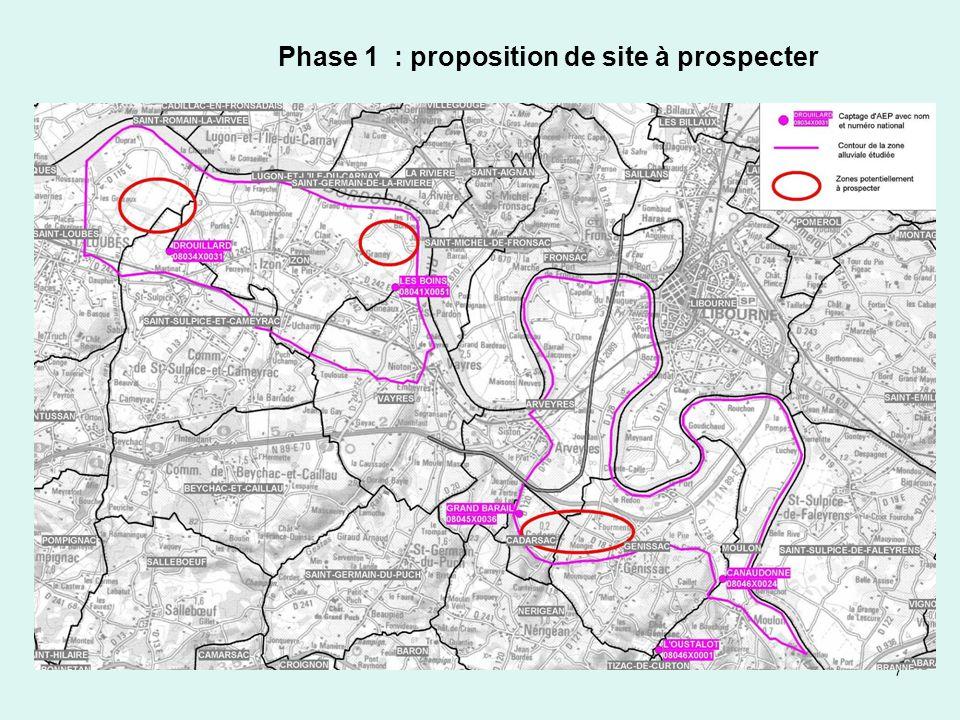 Phase 1 : proposition de site à prospecter