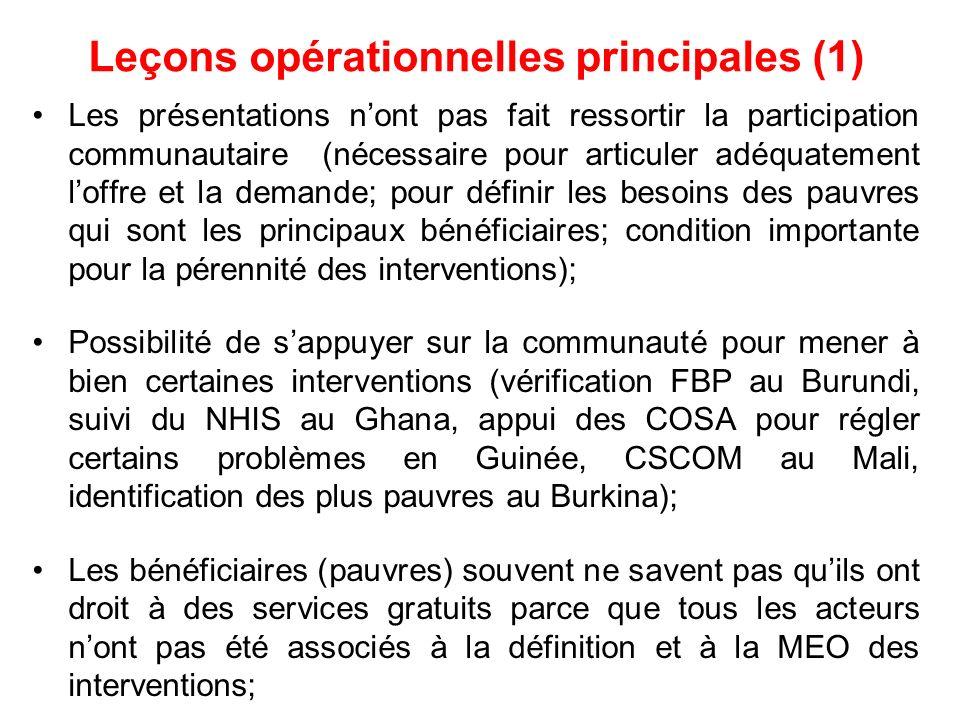 Leçons opérationnelles principales (1)