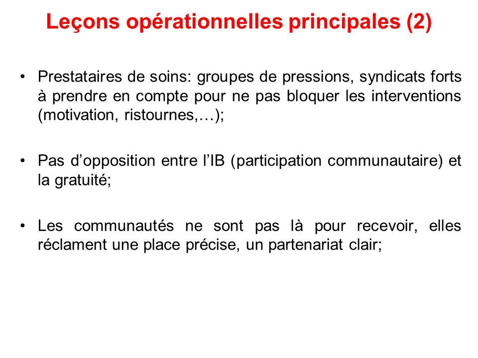 Leçons opérationnelles principales (2)