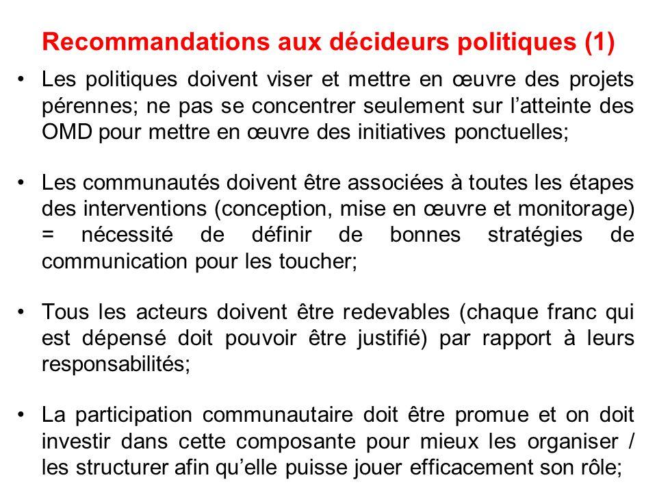 Recommandations aux décideurs politiques (1)