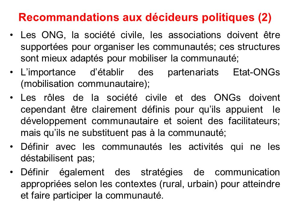 Recommandations aux décideurs politiques (2)