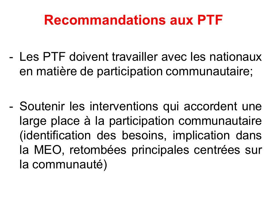 Recommandations aux PTF