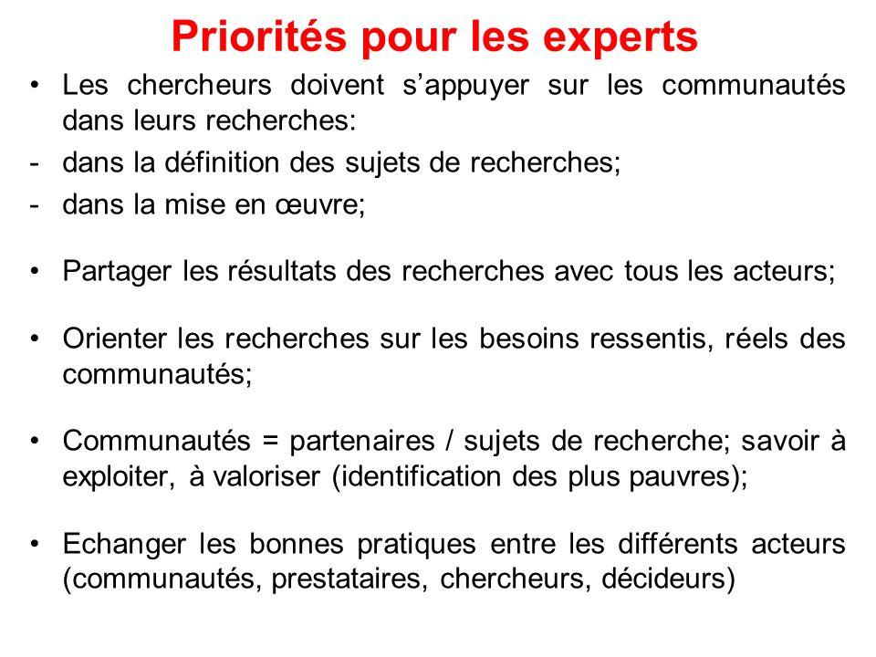 Priorités pour les experts