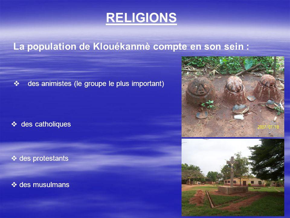 RELIGIONS La population de Klouékanmè compte en son sein :