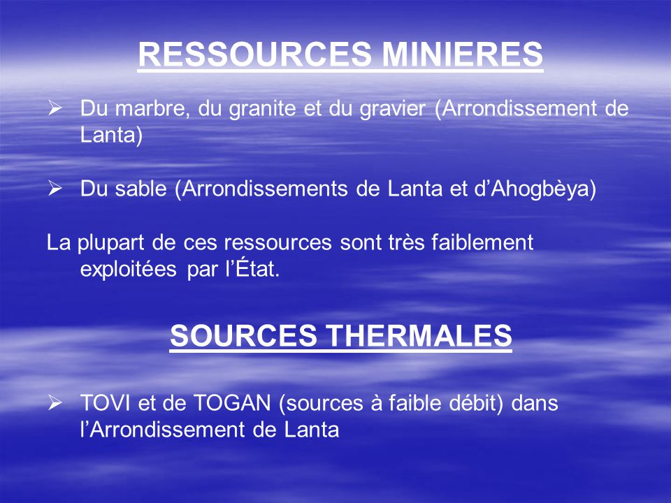 RESSOURCES MINIERES SOURCES THERMALES