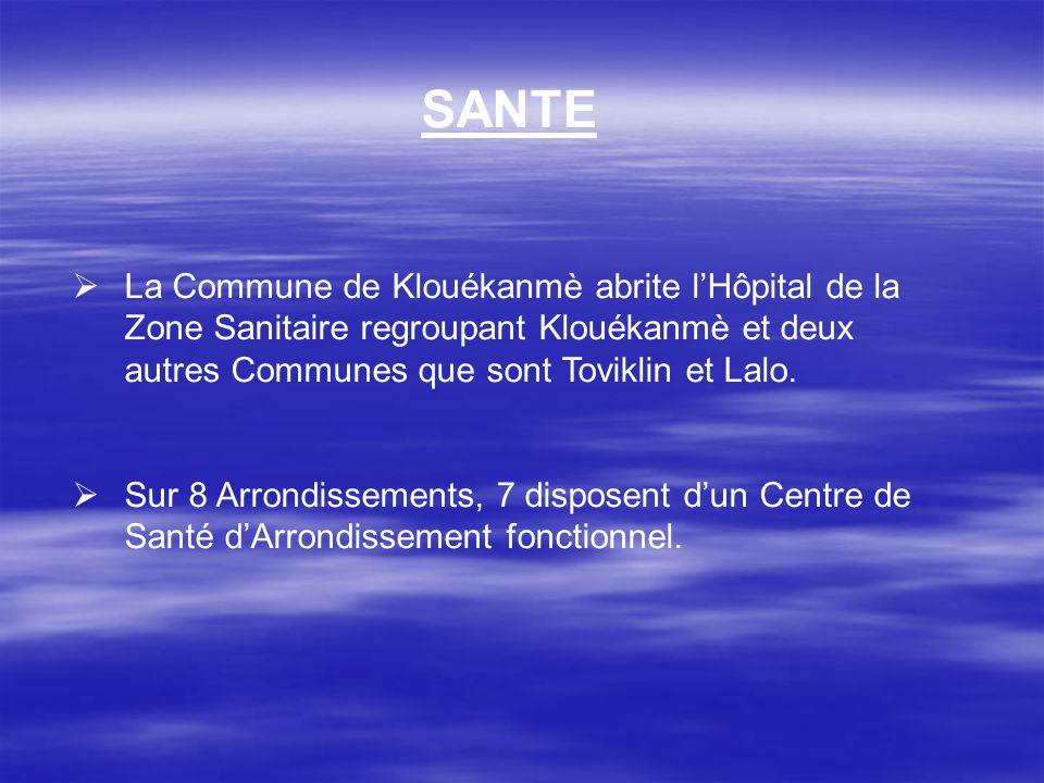 SANTE La Commune de Klouékanmè abrite l'Hôpital de la Zone Sanitaire regroupant Klouékanmè et deux autres Communes que sont Toviklin et Lalo.