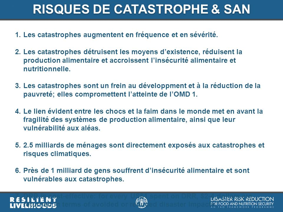 RISQUES DE CATASTROPHE & SAN
