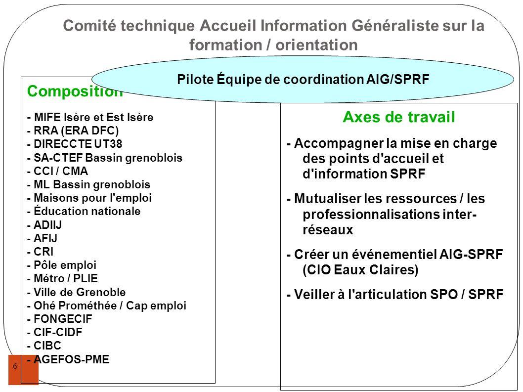 Comité technique Accueil Information Généraliste sur la formation / orientation