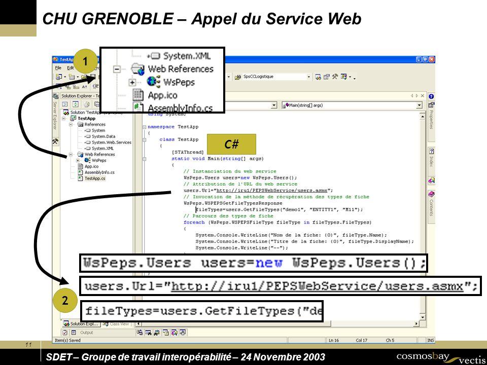 CHU GRENOBLE – Appel du Service Web