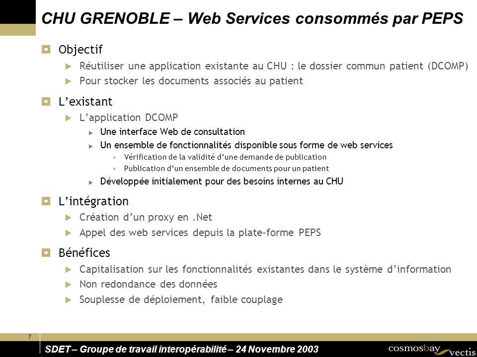 CHU GRENOBLE – Web Services consommés par PEPS
