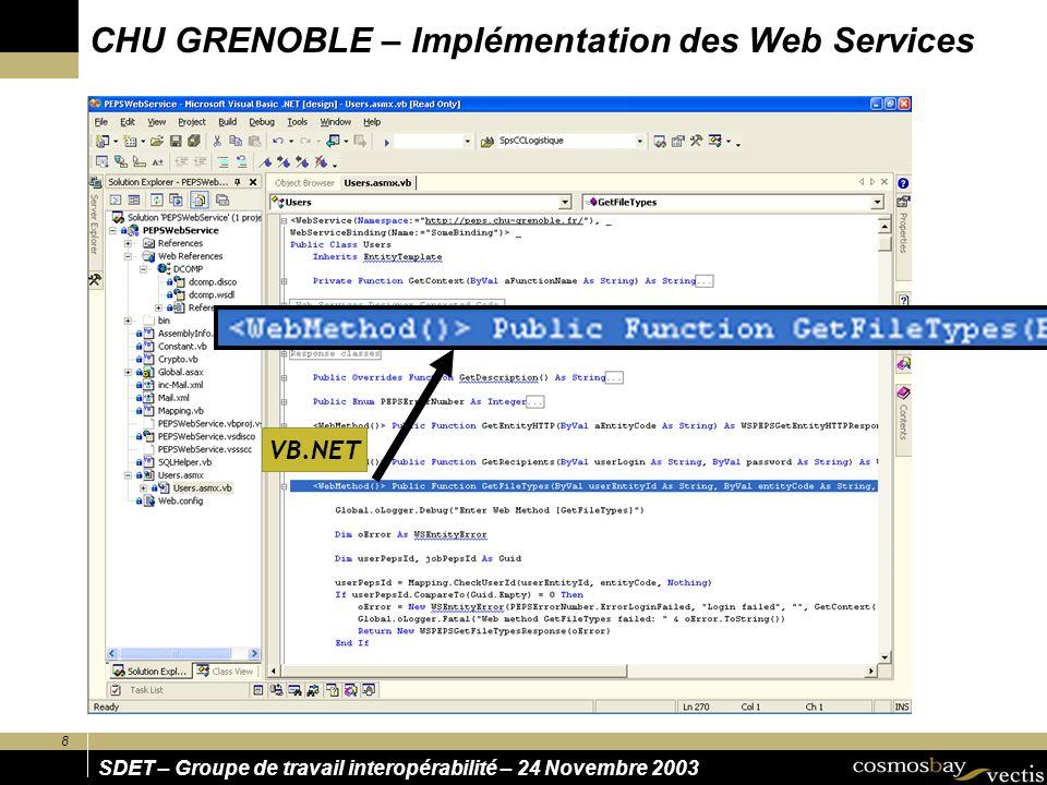 CHU GRENOBLE – Implémentation des Web Services