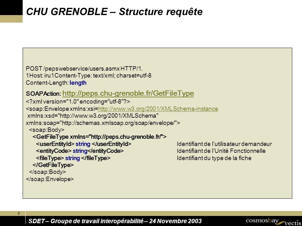 CHU GRENOBLE – Structure requête