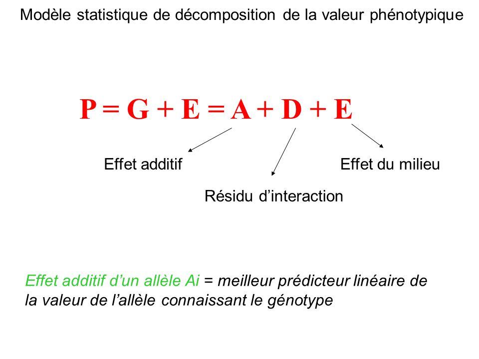 Modèle statistique de décomposition de la valeur phénotypique