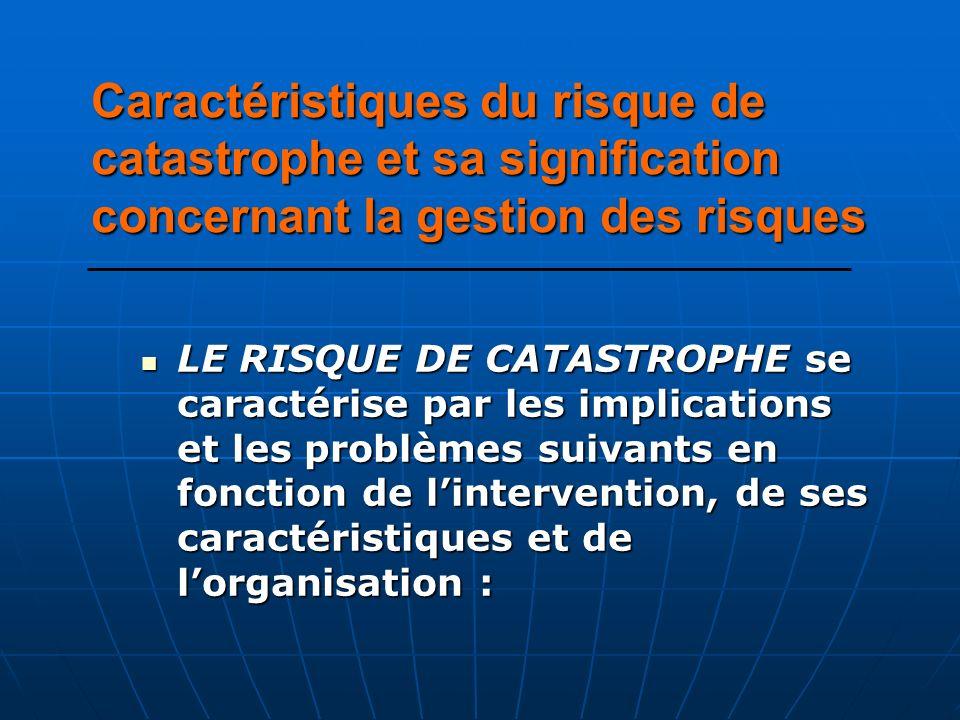 Caractéristiques du risque de catastrophe et sa signification concernant la gestion des risques